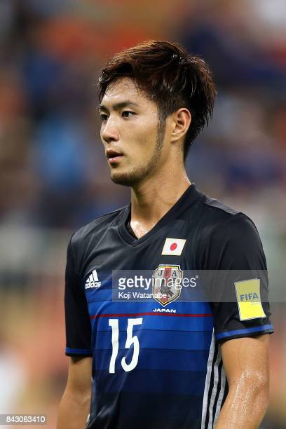 Kenyu Sugimoto of Japan in action during the FIFA World Cup qualifier match between Saudi Arabia and Japan at the King Abdullah Sports City on...