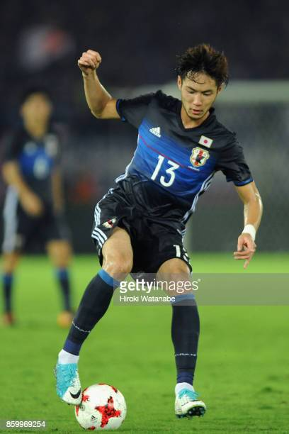 Kenyu Sugimoto of Japan in action during the international friendly match between Japan and Haiti at Nissan Stadium on October 10 2017 in Yokohama...