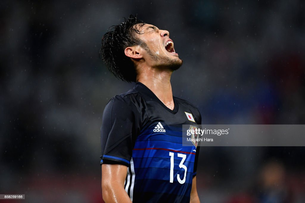 Kenyu Sugimoto of Japan reacts after missing a chance during the international friendly match between Japan and New Zealand at Toyota Stadium on October 6, 2017 in Toyota, Aichi, Japan.