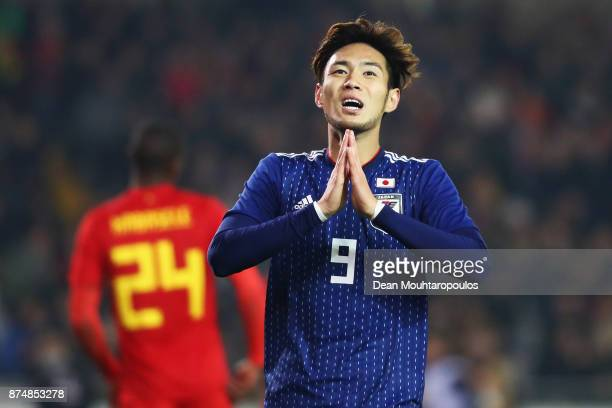 Kenyu Sugimoto of Japan reacts to a missed chance on goal during the international friendly match between Belgium and Japan held at Jan Breydel...
