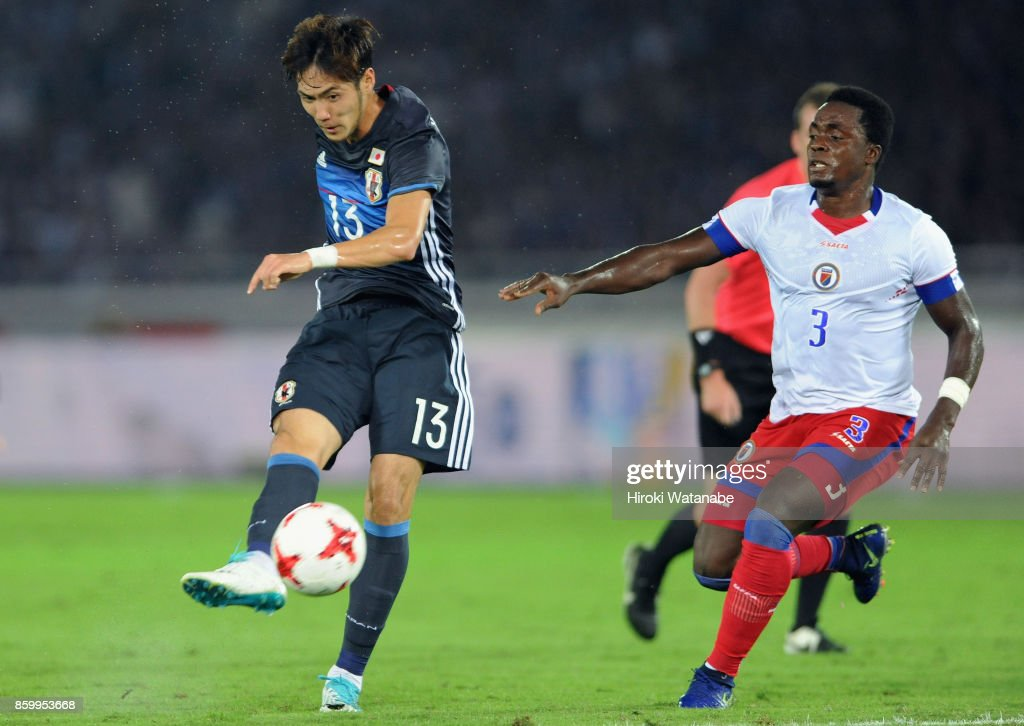 Kenyu Sugimoto of Japan shoots at goal during the international friendly match between Japan and Haiti at Nissan Stadium on October 10, 2017 in Yokohama, Kanagawa, Japan.