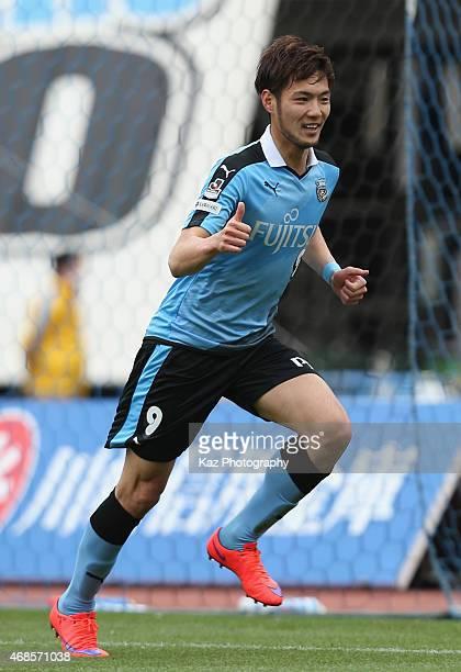 Kenyu Sugimoto of Kawasaki Frontale celebrates scoring his team's first goal during the JLeague match between Kawasaki Frontale and Albirex Niigata...