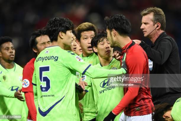 Kenyu Sugimoto of Urawa Red Diamonds shows his frustration after the AFC Champions League Group G match between Urawa Red Diamonds and Jeonbuk...