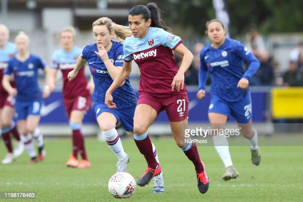 Kenza Dali of West Ham United Women during the Barclays FA Women's Super League match between Chelsea and West Ham United at the Kingsmeadow Kingston...