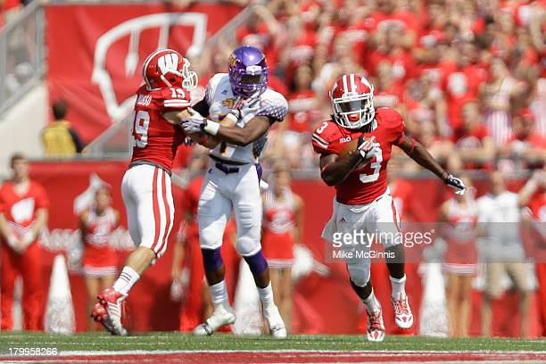 Kenzel Doe of the Wisconsin Badgers run upfield during the game against the Tennessee Tech Golden Eagles at Camp Randall Stadium on September 07 2013...