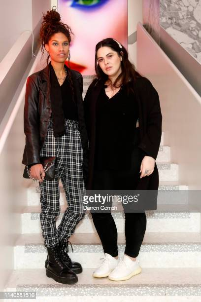 Kenzie and a guest attend the Pat McGrath 'A Technicolour Odyssey' Campaign launch party at Brasserie of Light Selfridges on April 04 2019 in London...