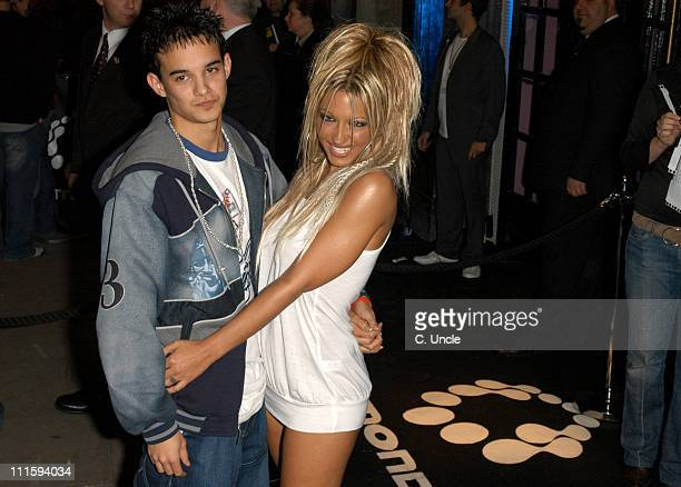 Kenzie of Blazin' Squad with Jodie Marsh during Gizmondo Launch Party Arrivals at Sheraton Park Lane Hotel in London Great Britain