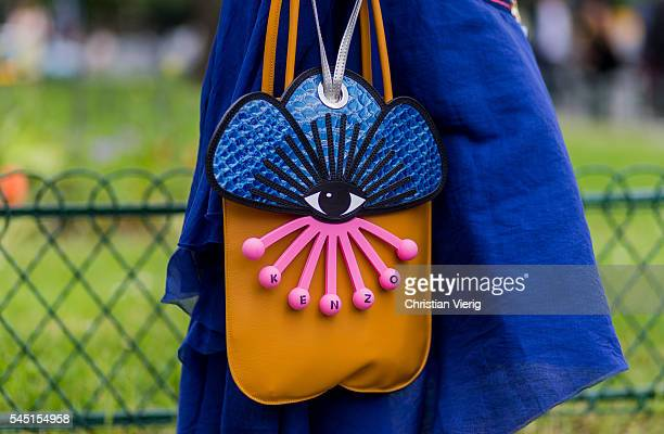 Kenzo bag outside Chanel during Paris Fashion Week Haute Couture F/W 2016/2017 on July 5 2016 in Paris France