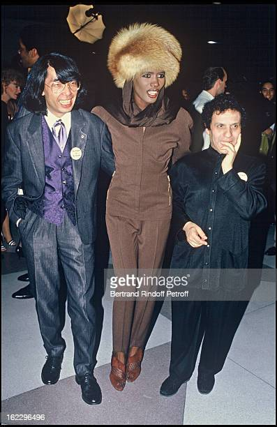 Kenzo Grace Jones and Azzedine Alaia at a Charity party for the fight against Aids in 1986