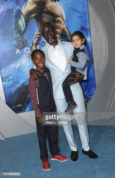 Kenzo Lee Hounsou and Djimon Hounsou arrive for the Premiere Of Warner Bros Pictures' Aquaman held at TCL Chinese Theatre on December 12 2018 in...