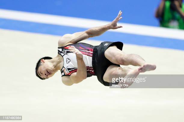 Kenzo Shirai competes in the Men's Floor Exercise qualifying round on day one of the 73rd All Japan Artistic Gymnastics Apparatus Championships at...