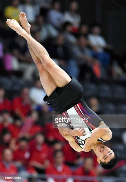 Kenzo Shirai competes in the Men's Floor final on day two of the 73rd All Japan Artistic Gymnastics Apparatus Championships at Takasaki Arena on June...