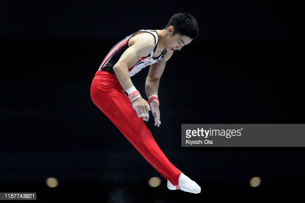 Kenzo Shirai competes in the Men's Horizontal Bar final on day two of the 73rd All Japan Artistic Gymnastics Apparatus Championships at Takasaki...
