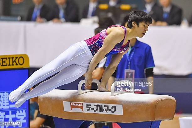 Kenzo Shirai competes in the Pommel Horse during day three of the All Japan Artistic Gymnastics Individual All Around Championships at Yoyogi...