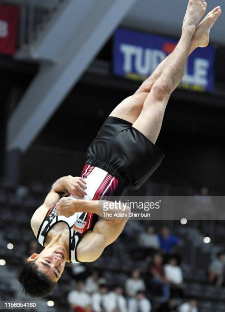 Kenzo Shirai competes on the Floor on day one of the 73rd All Japan Artistic Gymnastics Apparatus Championships at Takasaki Arena on June 22 2019 in...