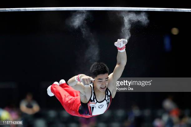 Kenzo Shirai fails to catch a bar while competing in the Men's Horizontal Bar final on day two of the 73rd All Japan Artistic Gymnastics Apparatus...