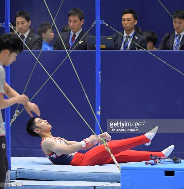 Kenzo Shirai falls while competing on the Horizontal Bar of the Men's Final on day three of the 73rd All Japan Artistic Gymnastics Individual...