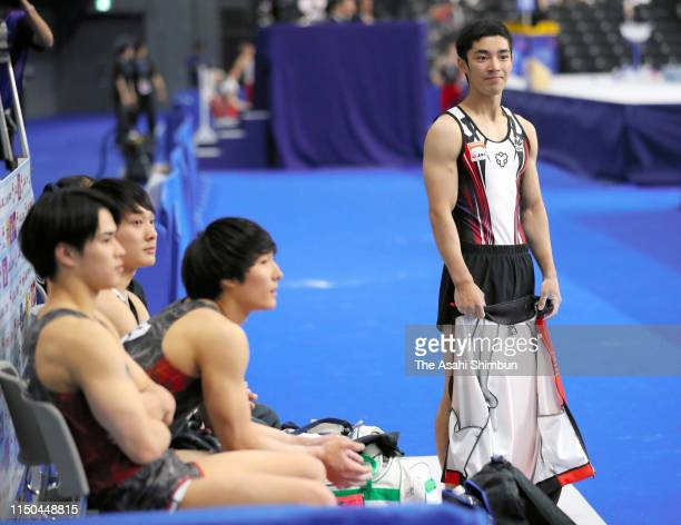 Kenzo Shirai is seen after competing in the Horse Vault during day two of the Artistic Gymnastics NHK Trophy at Musashino Forest Sport Plaza on May...