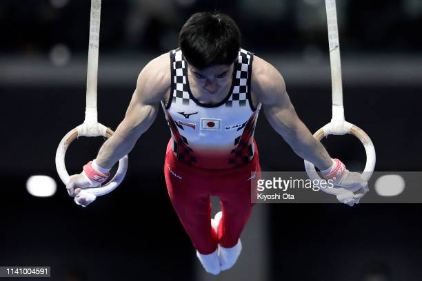 Kenzo Shirai of Japan competes in the Men's Rings during the FIG Artistic Gymnastics AllAround World Cup Tokyo at Musashino Forest Sport Plaza on...