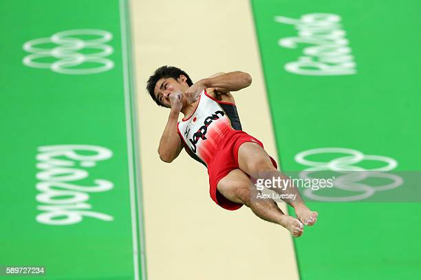 Kenzo Shirai of Japan competes in the Men's Vault Final on day 10 of the Rio 2016 Olympic Games at Rio Olympic Arena on August 15, 2016 in Rio de...