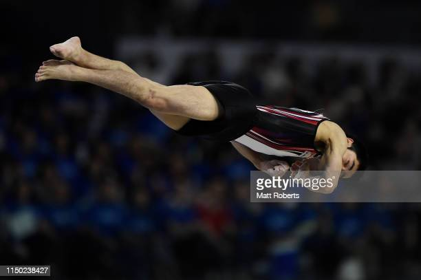 Kenzo Shirai of Japan competes on the Floor during day two of the Artistic Gymnastics NHK Trophy at Musashino Forest Sport Plaza on May 19 2019 in...