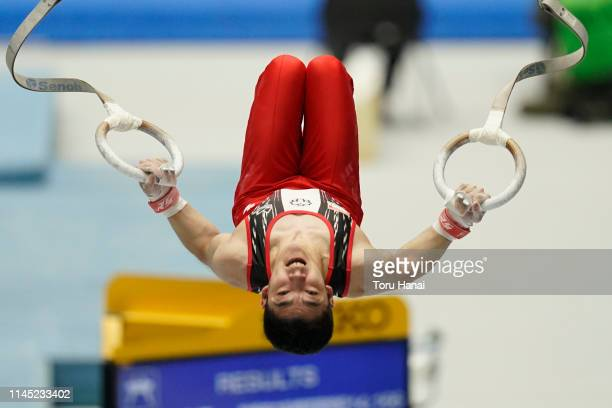 Kenzo Shirai of Japan competes on the Rings during day one of the 73rd All Japan Artistic Gymnastics Individual AllAround Championships at Takasaki...
