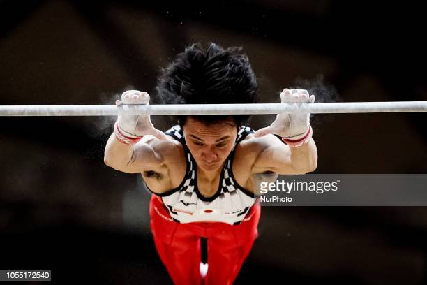 Kenzo Shirai of  Japan during High Bar Team final for Men at the Aspire Dome in Doha Qatar Artistic FIG Gymnastics World Championships on October 29...