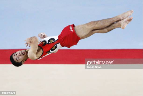 Kenzo Shirai of Japan performs in the men's floor exercise final at the world gymnastics championships in Montreal Canada on Oct 7 2017 Shirai won...