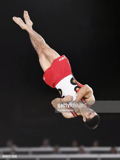 Kenzo Shirai of Japan performs on the floor exercise in the men's allaround final at the world gymnastics championships in Montreal Canada on Oct 5...