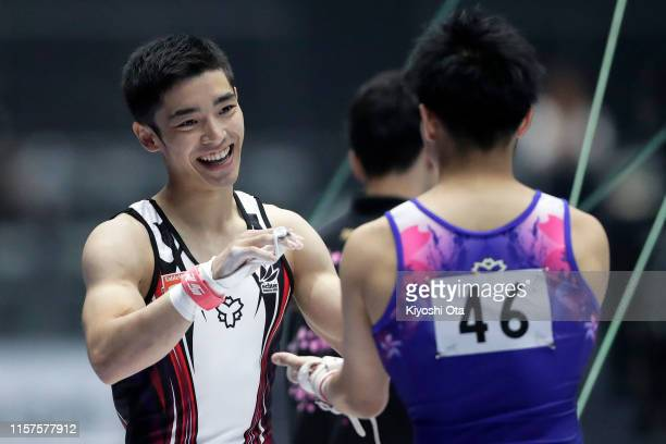 Kenzo Shirai reacts after competing in the Men's Horizontal Bar qualifying round on day one of the 73rd All Japan Artistic Gymnastics Apparatus...