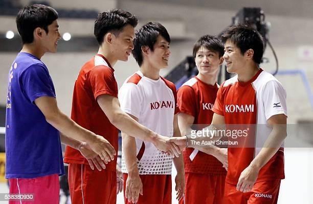 Kenzo Shirai Yusuke Tanaka Ryohei Kato Kohei Uchimura and Koji Yamamuro of Japan Men's Artistic Gymnastics team for the Rio de Janeiro Olympic Games...
