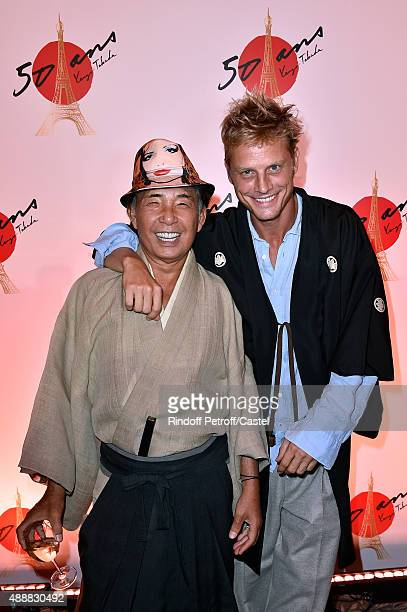 Kenzo Takada and Arnaud Lemaire attend the Kenzo Takada's 50 Years Of Life in Paris Celebration at Restaurant Le Pre Catelan on September 17 2015 in...