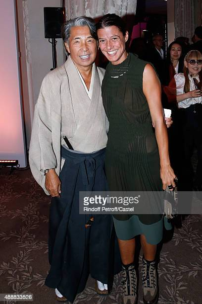 Kenzo Takada and Camille Miceli attend the Kenzo Takada's 50 Years Of Life in Paris Celebration at Restaurant Le Pre Catelan on September 17 2015 in...