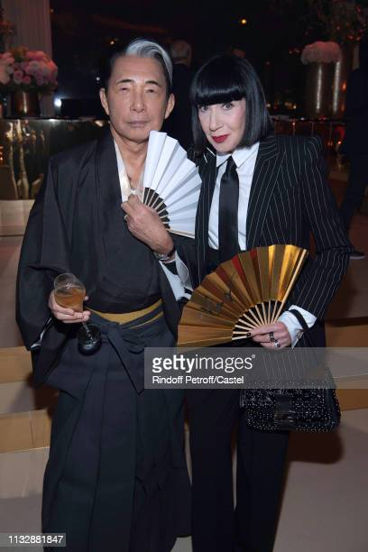 Kenzo Takada and Chantal Thomass attend the 80th Kenzo Takada Birthday Party at Pavillon Ledoyen on February 28 2019 in Paris France
