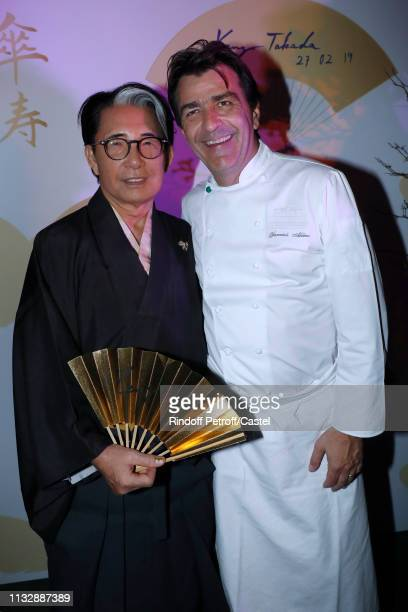Kenzo Takada and Chef of the Pavillon Ledoyen Yannick Alleno attend the 80th Kenzo Takada Birthday Party at Pavillon Ledoyen on February 28 2019 in...