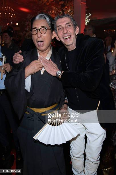 Kenzo Takada and Michel Klein attend the 80th Kenzo Takada Birthday Party at Pavillon Ledoyen on February 28 2019 in Paris France
