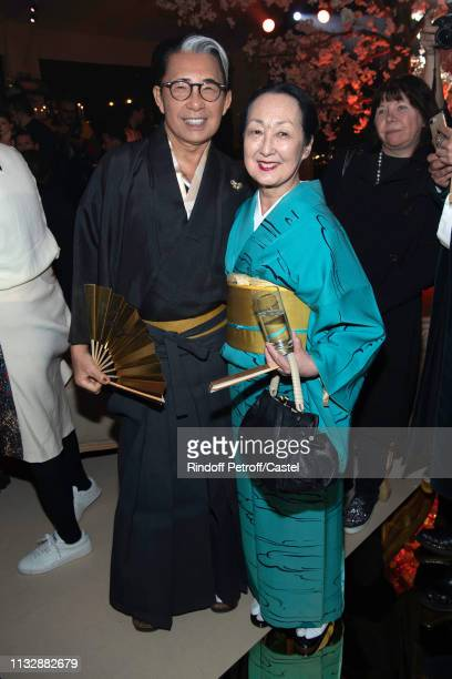 Kenzo Takada and Setsuko Klossowska de Rola attend the 80th Kenzo Takada Birthday Party at Pavillon Ledoyen on February 28 2019 in Paris France
