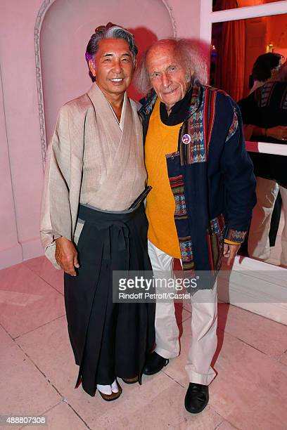 Kenzo Takada and Violonist Ivry Gitlis attend the Kenzo Takada's 50 Years Of Life in Paris Celebration at Restaurant Le Pre Catelan on September 17...