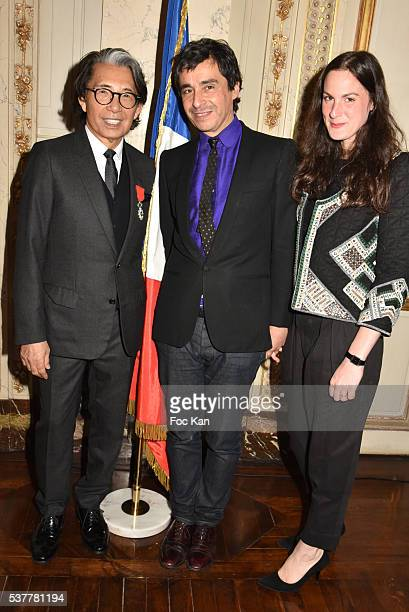 Kenzo Takada Ariel Wizman and Osnath Assayag attend as Kenzo Takada receives the Medal of Chevalier de La Legion d'Honneur at Conseil Constitutionnel...