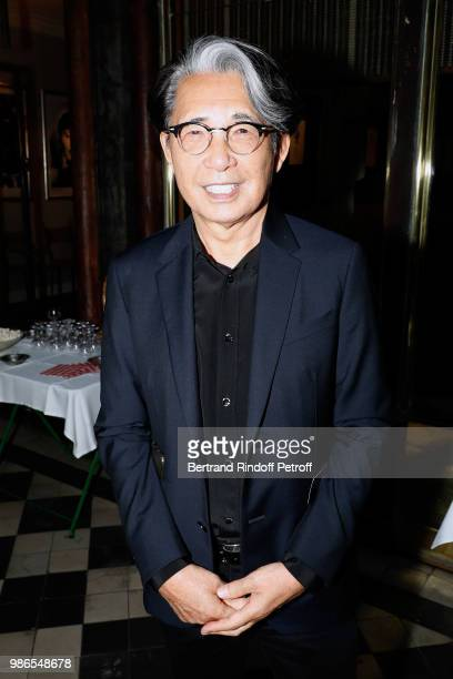 Kenzo Takada attends the Tan Giudicelli Exhibition of drawings and accessories preview at Galerie Pierre Passebon on June 28 2018 in Paris France
