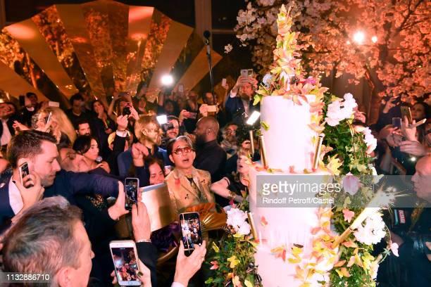 Kenzo Takada celebrates his 80th Birthday at Pavillon Ledoyen on February 28, 2019 in Paris, France.