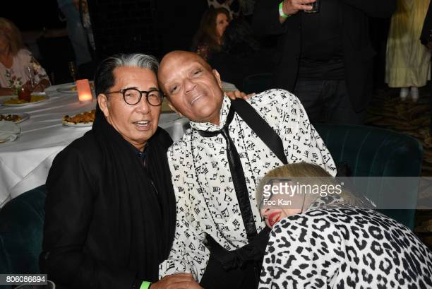 Kenzo Takada Guy Cuevas and Susi Wyss attend the Facade Magazine Dinner at VIP Room on July 2 2017 in Paris France