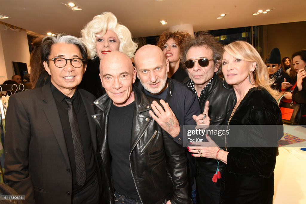Kenzo Takada, Pierre Commoy, Gilles Blanchard, Philippe Manoeuvre, Ruth Obadia, Olympia Solange and Lydia Goldberg attend 'Facade16' Magazine Issue Launch at Colette on February 23, 2017 in Paris, France.