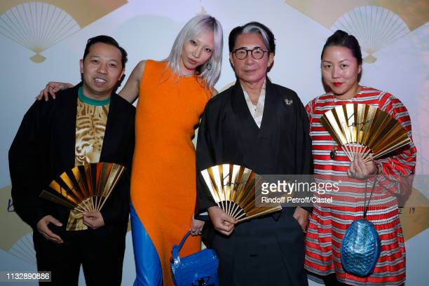 Kenzo Takada posing with stylists of Kenzo Humberto Leon and Carol Lim and a guest attend the 80th Kenzo Takada Birthday Party at Pavillon Ledoyen on...