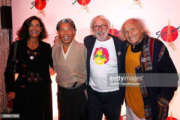 Kenzo Takada Violonist Ivry Gitlis Actor Pierre Richard and his wife Ceyla Lacerda attend the Kenzo Takada's 50 Years Of Life in Paris Celebration at...