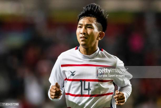 Keo Sokpheng of Cambodia reacts during the FIFA World Cup Asian Qualifier second round match between Hong Kong and Cambodia on November 19 2019 in...