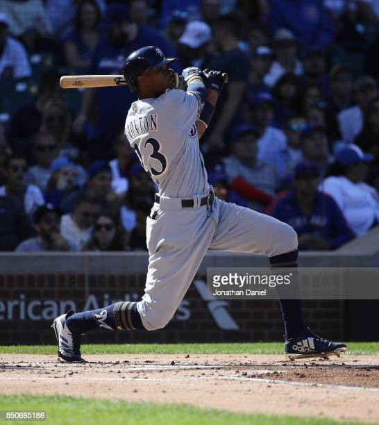 Keon Broxton of the Milwaukee Brewers bats against the Chicago Cubs at Wrigley Field on September 9 2017 in Chicago Illinois The Brewers defeated the...