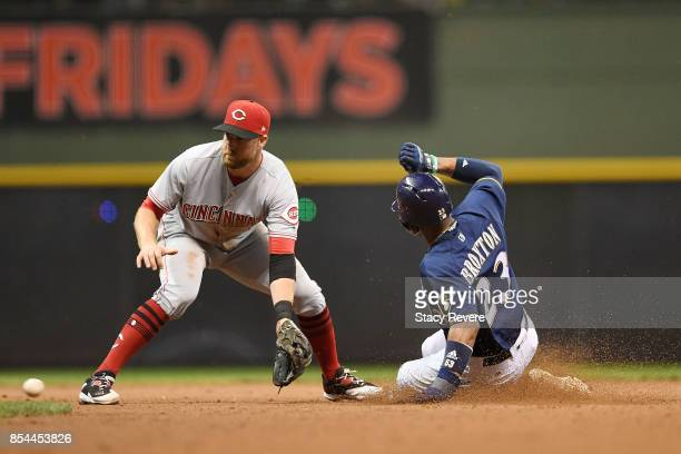 Keon Broxton of the Milwaukee Brewers beats a tag at second base by Zack Cozart of the Cincinnati Reds during the seventh inning of a game at Miller...