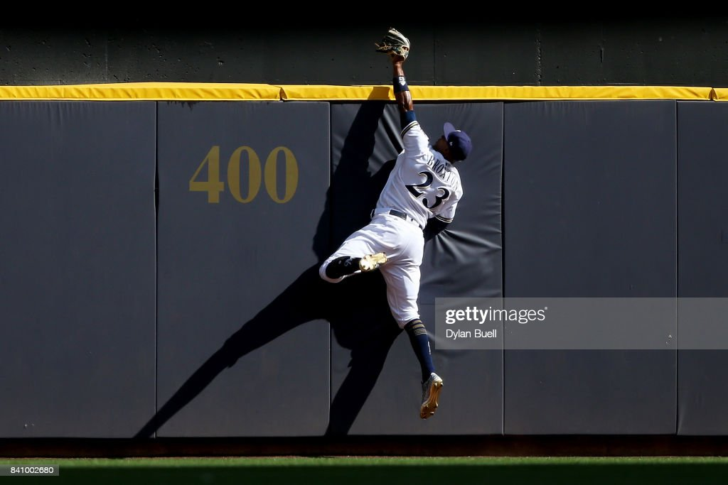 Keon Broxton #23 of the Milwaukee Brewers catches a fly ball to end the game against the St. Louis Cardinals at Miller Park on August 30, 2017 in Milwaukee, Wisconsin.