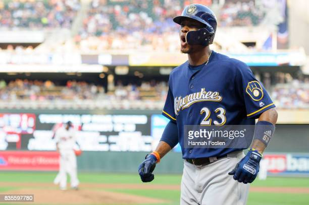 Keon Broxton of the Milwaukee Brewers celebrates a home run against the Minnesota Twins during the game on August 7 2017 at Target Field in...